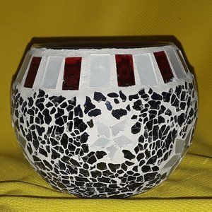 Red/White/Blue Mosaic Candle Holder